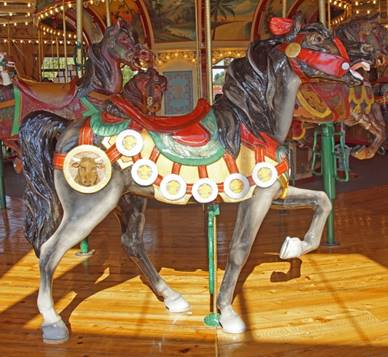 A close up of a carousel