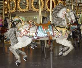 A statue of a carousel
