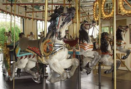 A group of people in a carousel