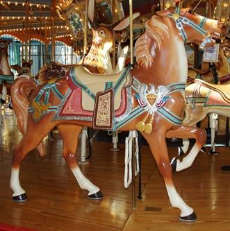 A carousel horse  Description automatically generated