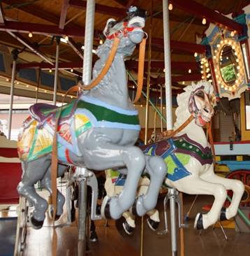 A picture containing carousel, ride, indoor, outdoor object  Description automatically generated